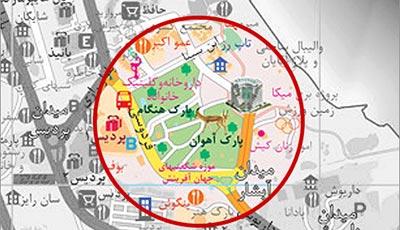 پارک آهوان در نقشه قدیم کیش